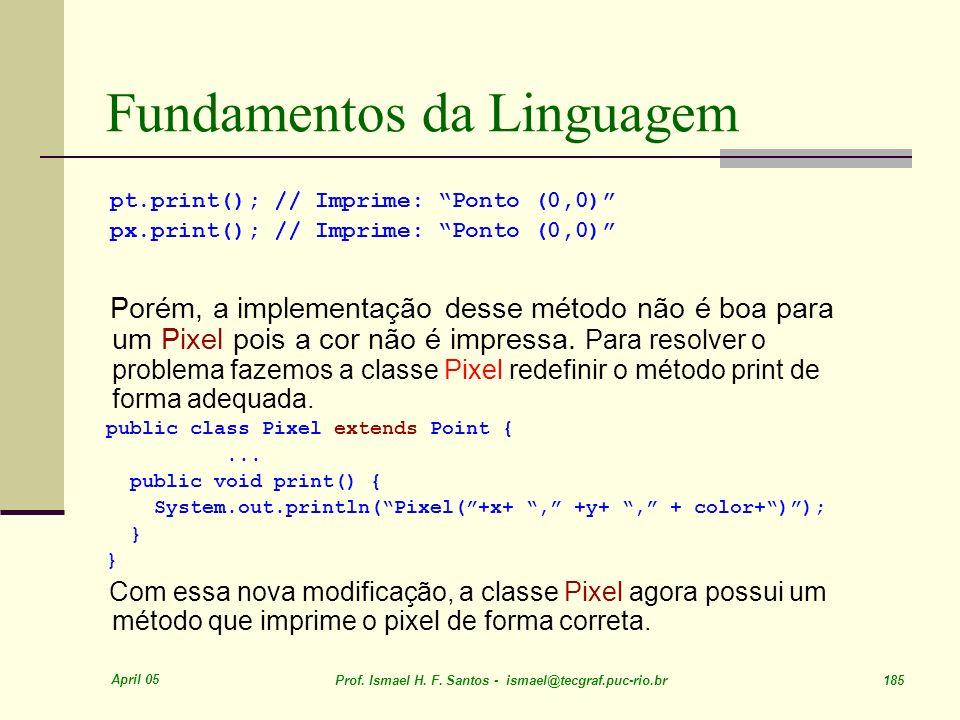 April 05 Prof. Ismael H. F. Santos - ismael@tecgraf.puc-rio.br 185 Fundamentos da Linguagem pt.print(); // Imprime: Ponto (0,0) px.print(); // Imprime