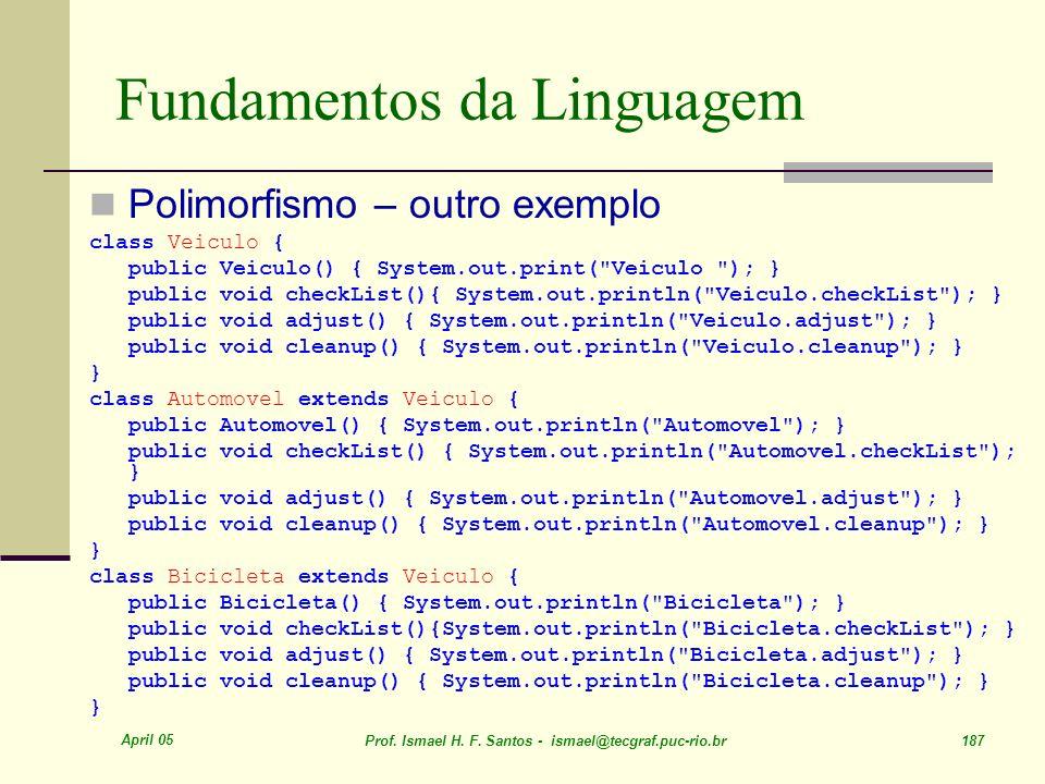 April 05 Prof. Ismael H. F. Santos - ismael@tecgraf.puc-rio.br 187 Fundamentos da Linguagem Polimorfismo – outro exemplo class Veiculo { public Veicul