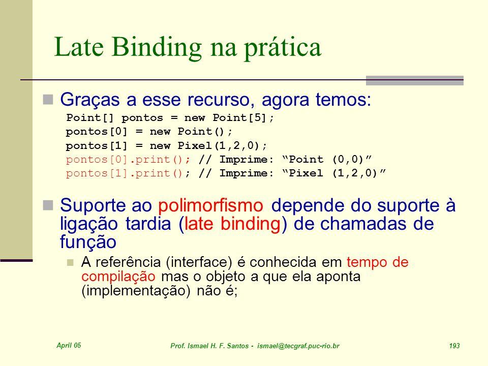 April 05 Prof. Ismael H. F. Santos - ismael@tecgraf.puc-rio.br 193 Late Binding na prática Graças a esse recurso, agora temos: Point[] pontos = new Po