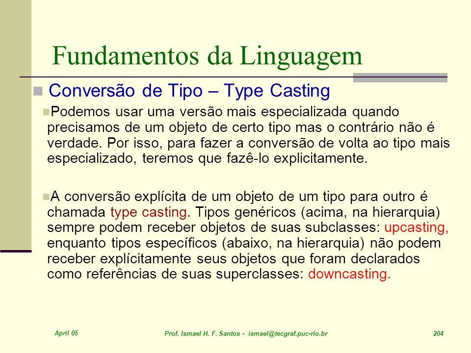 April 05 Prof. Ismael H. F. Santos - ismael@tecgraf.puc-rio.br 204 Fundamentos da Linguagem Conversão de Tipo – Type Casting Podemos usar uma versão m