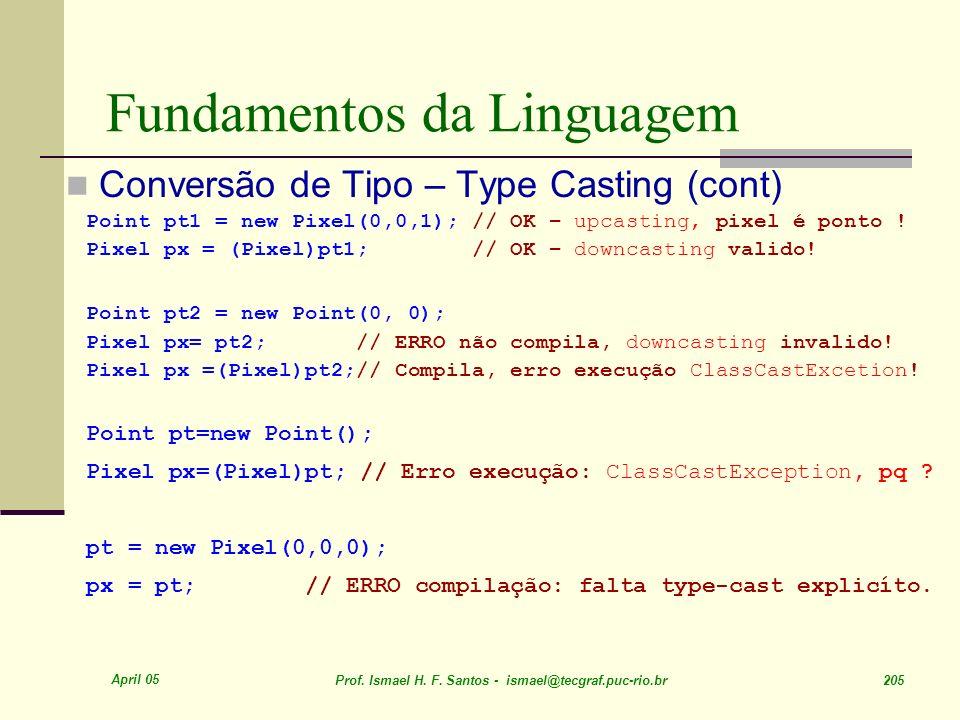 April 05 Prof. Ismael H. F. Santos - ismael@tecgraf.puc-rio.br 205 Fundamentos da Linguagem Conversão de Tipo – Type Casting (cont) Point pt1 = new Pi