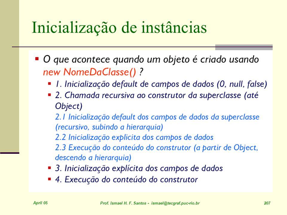 April 05 Prof. Ismael H. F. Santos - ismael@tecgraf.puc-rio.br 207 Inicialização de instâncias