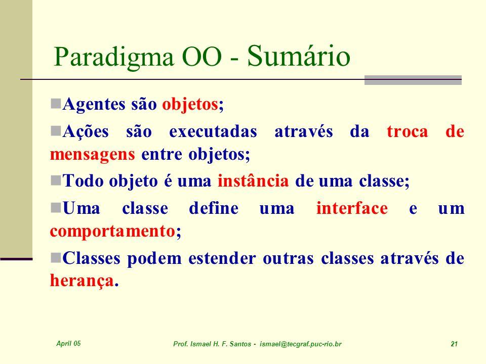 April 05 Prof. Ismael H. F. Santos - ismael@tecgraf.puc-rio.br 21 Paradigma OO - Sumário Agentes são objetos; Ações são executadas através da troca de