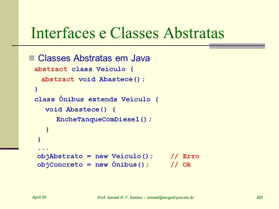 April 05 Prof. Ismael H. F. Santos - ismael@tecgraf.puc-rio.br 221 Interfaces e Classes Abstratas Classes Abstratas em Java abstract class Veículo { a
