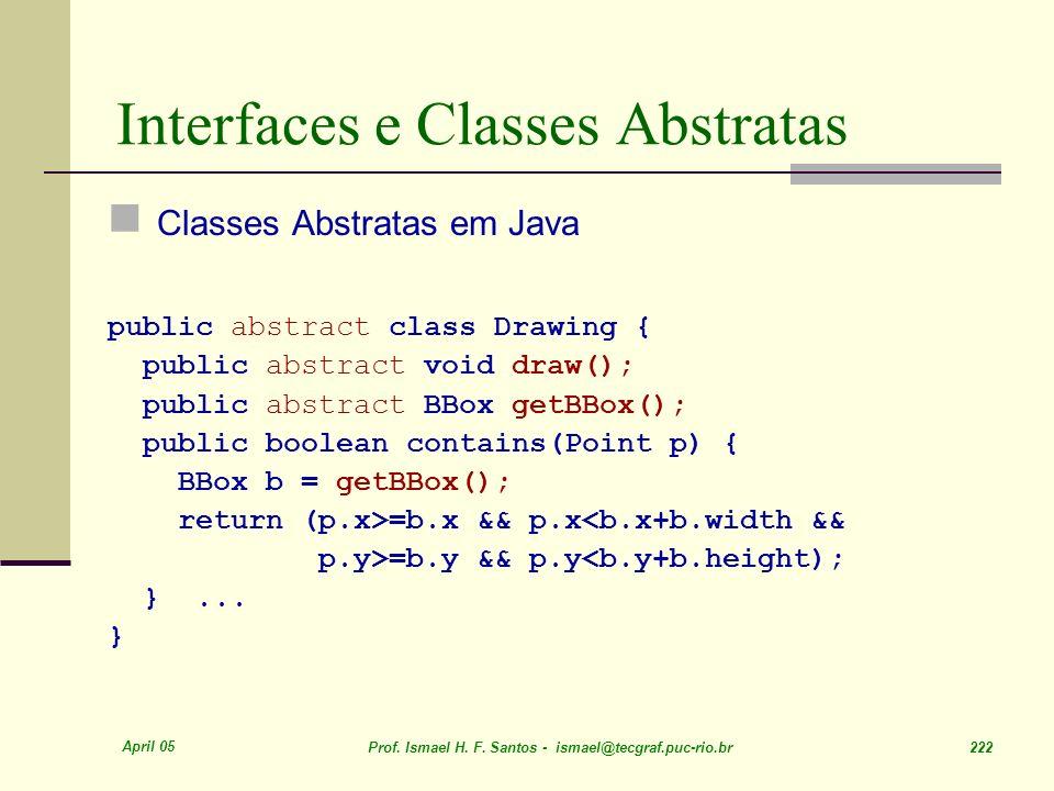 April 05 Prof. Ismael H. F. Santos - ismael@tecgraf.puc-rio.br 222 Interfaces e Classes Abstratas Classes Abstratas em Java public abstract class Draw