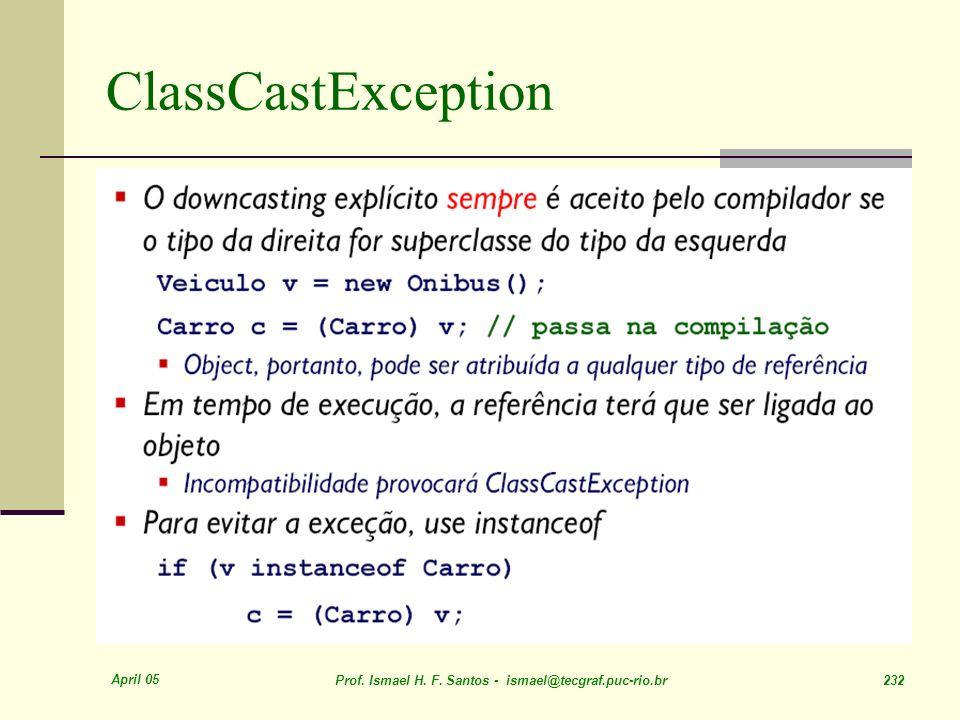April 05 Prof. Ismael H. F. Santos - ismael@tecgraf.puc-rio.br 232 ClassCastException