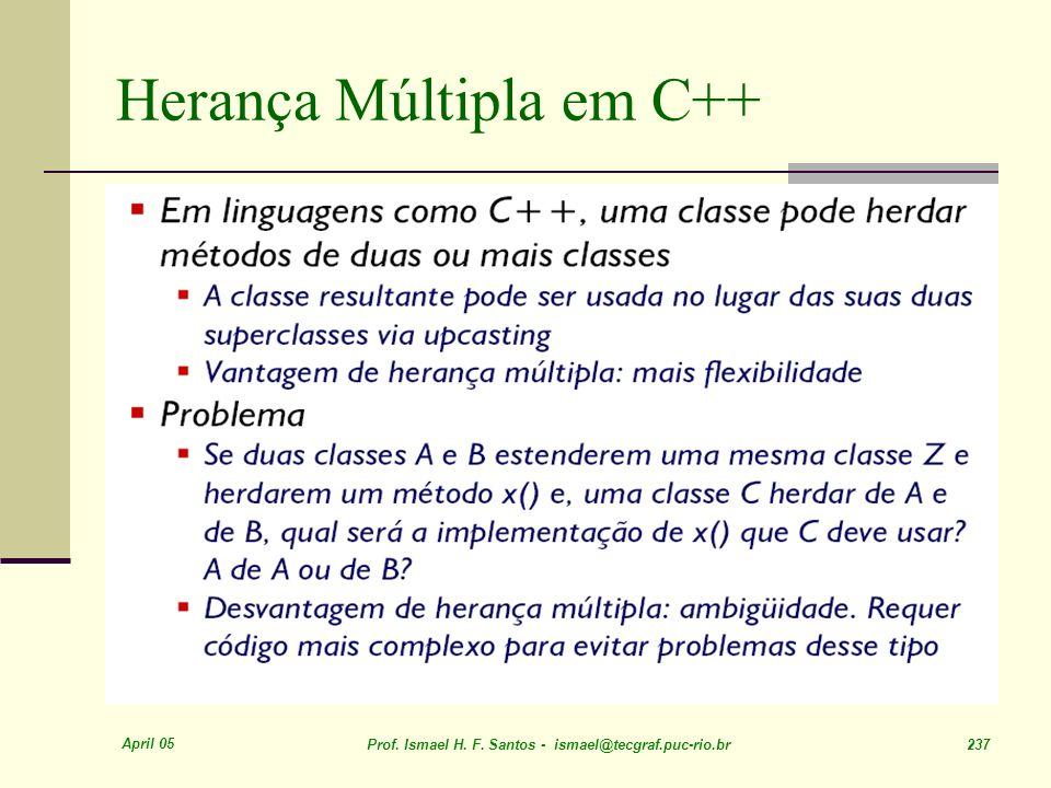 April 05 Prof. Ismael H. F. Santos - ismael@tecgraf.puc-rio.br 237 Herança Múltipla em C++