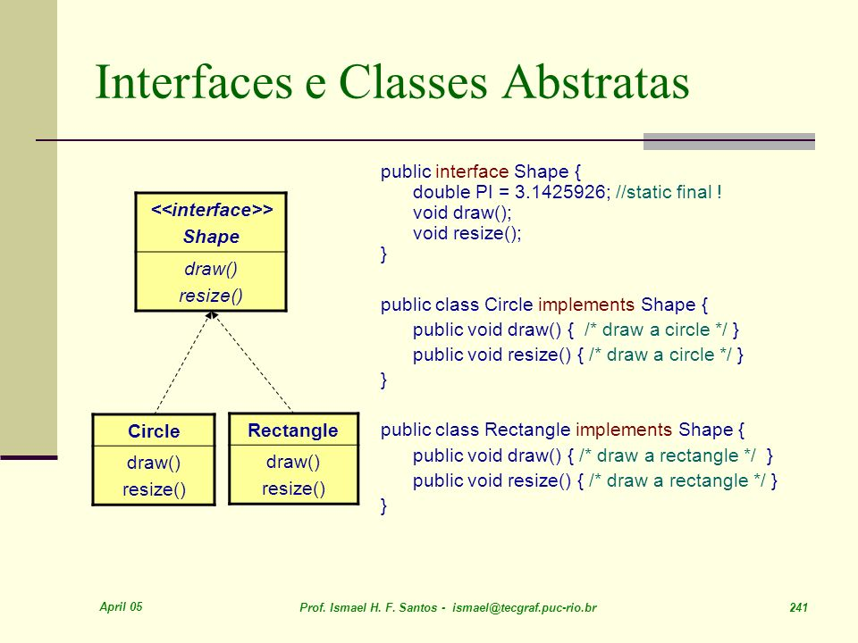 April 05 Prof. Ismael H. F. Santos - ismael@tecgraf.puc-rio.br 241 Interfaces e Classes Abstratas public interface Shape { double PI = 3.1425926; //st