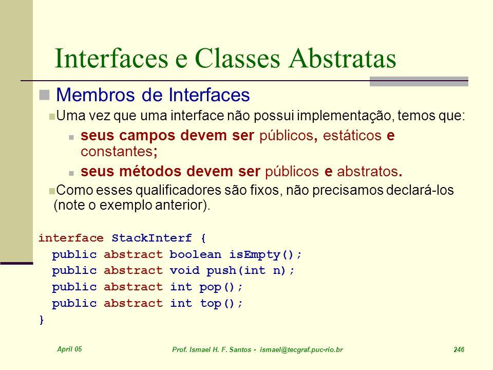 April 05 Prof. Ismael H. F. Santos - ismael@tecgraf.puc-rio.br 246 Interfaces e Classes Abstratas Membros de Interfaces Uma vez que uma interface não