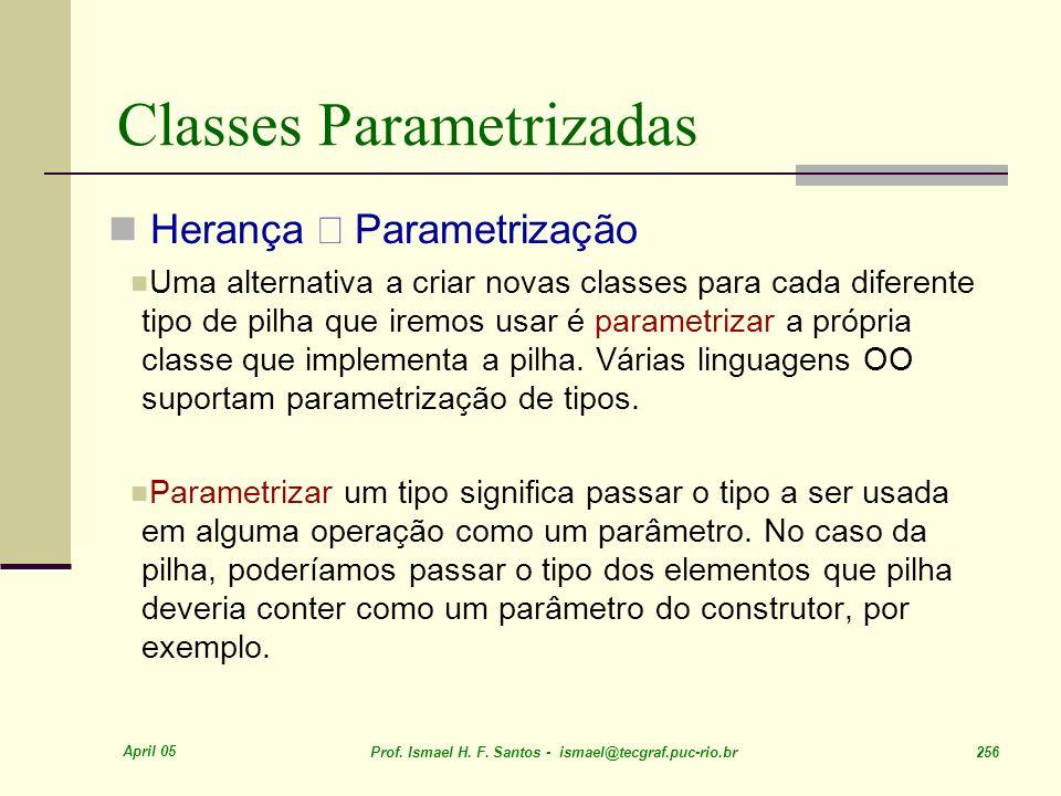 April 05 Prof. Ismael H. F. Santos - ismael@tecgraf.puc-rio.br 256 Classes Parametrizadas Herança Parametrização Uma alternativa a criar novas classes