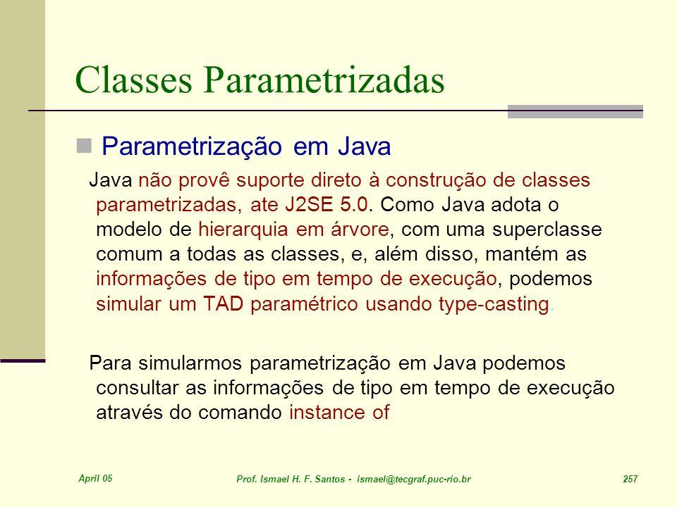 April 05 Prof. Ismael H. F. Santos - ismael@tecgraf.puc-rio.br 257 Classes Parametrizadas Parametrização em Java Java não provê suporte direto à const