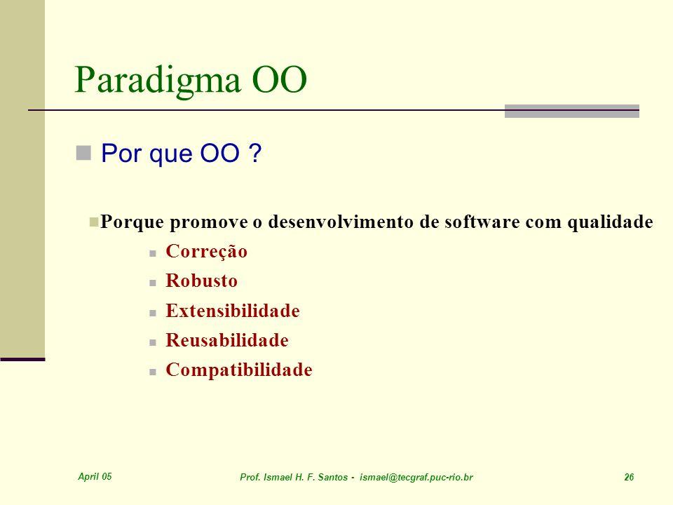 April 05 Prof. Ismael H. F. Santos - ismael@tecgraf.puc-rio.br 26 Paradigma OO Por que OO ? Porque promove o desenvolvimento de software com qualidade