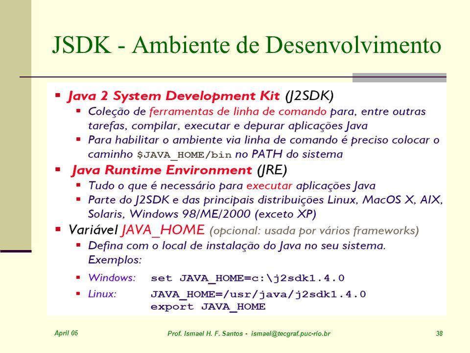 April 05 Prof. Ismael H. F. Santos - ismael@tecgraf.puc-rio.br 38 JSDK - Ambiente de Desenvolvimento