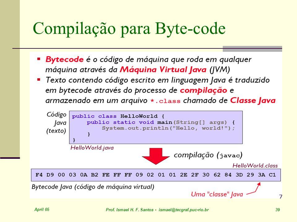 April 05 Prof. Ismael H. F. Santos - ismael@tecgraf.puc-rio.br 39 Compilação para Byte-code