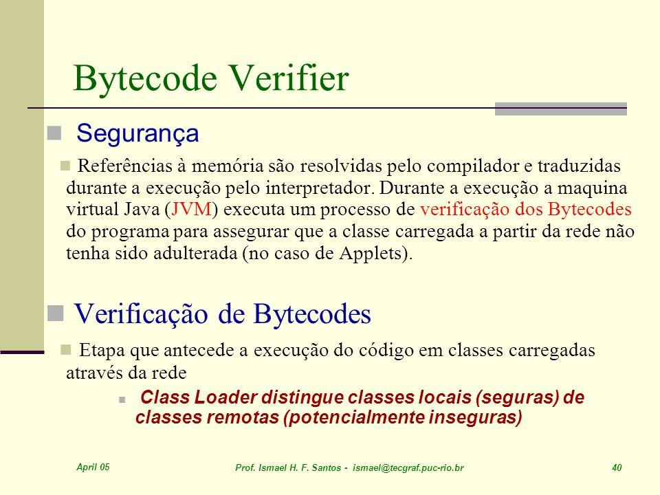 April 05 Prof. Ismael H. F. Santos - ismael@tecgraf.puc-rio.br 40 Bytecode Verifier Segurança Referências à memória são resolvidas pelo compilador e t