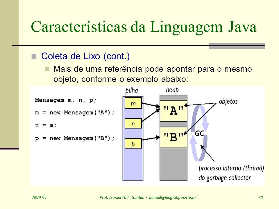 April 05 Prof. Ismael H. F. Santos - ismael@tecgraf.puc-rio.br 43 Características da Linguagem Java Coleta de Lixo (cont.) Mais de uma referência pode