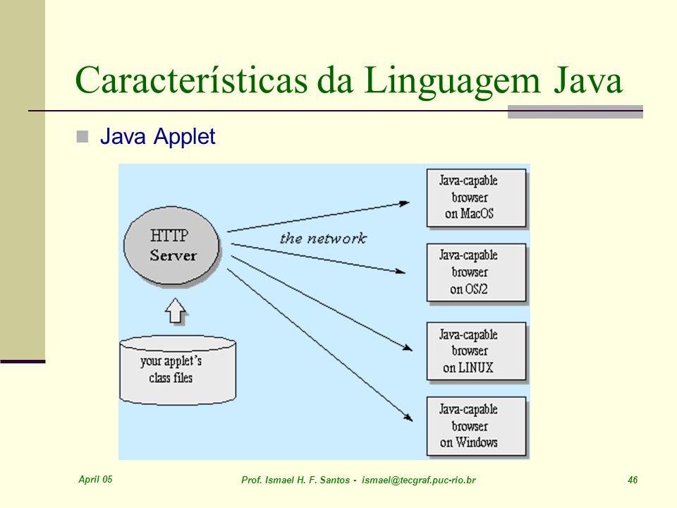 April 05 Prof. Ismael H. F. Santos - ismael@tecgraf.puc-rio.br 46 Características da Linguagem Java Java Applet