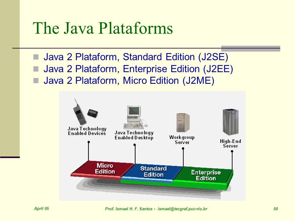 April 05 Prof. Ismael H. F. Santos - ismael@tecgraf.puc-rio.br 50 The Java Plataforms Java 2 Plataform, Standard Edition (J2SE) Java 2 Plataform, Ente