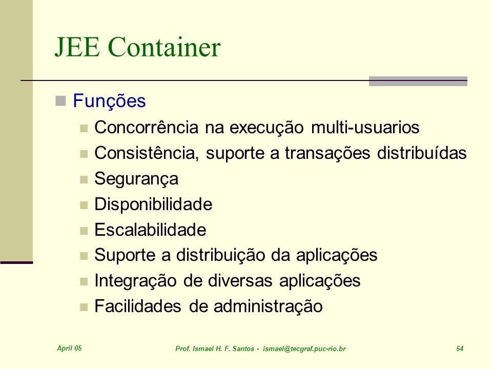 April 05 Prof. Ismael H. F. Santos - ismael@tecgraf.puc-rio.br 54 JEE Container Funções Concorrência na execução multi-usuarios Consistência, suporte
