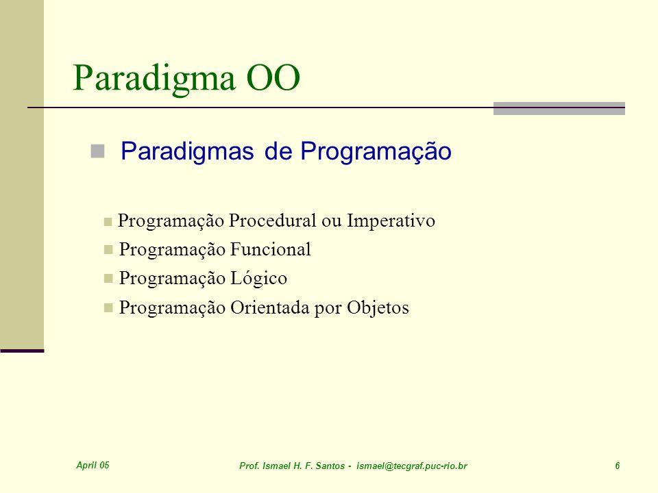 April 05 Prof. Ismael H. F. Santos - ismael@tecgraf.puc-rio.br 6 Paradigma OO Paradigmas de Programação Programação Procedural ou Imperativo Programaç