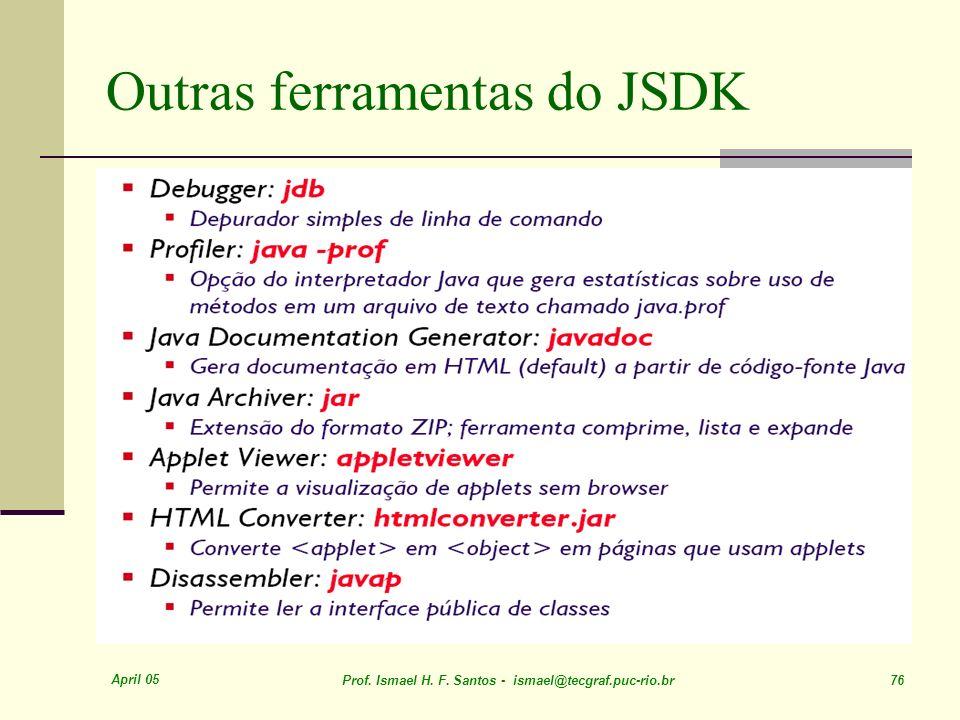 April 05 Prof. Ismael H. F. Santos - ismael@tecgraf.puc-rio.br 76 Outras ferramentas do JSDK