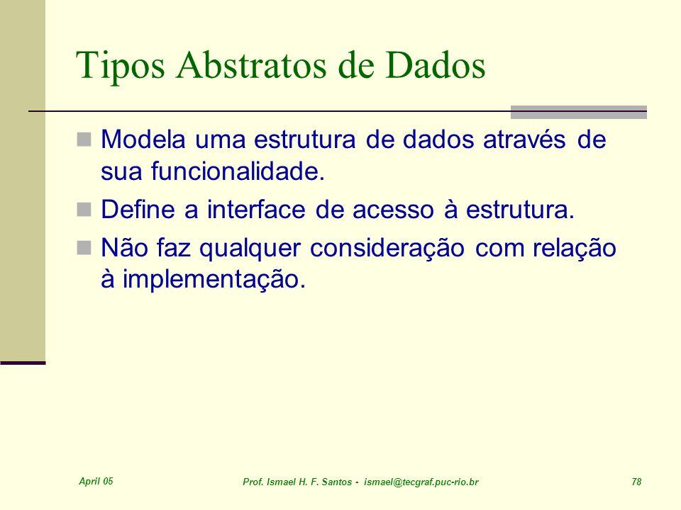 April 05 Prof. Ismael H. F. Santos - ismael@tecgraf.puc-rio.br 78 Tipos Abstratos de Dados Modela uma estrutura de dados através de sua funcionalidade