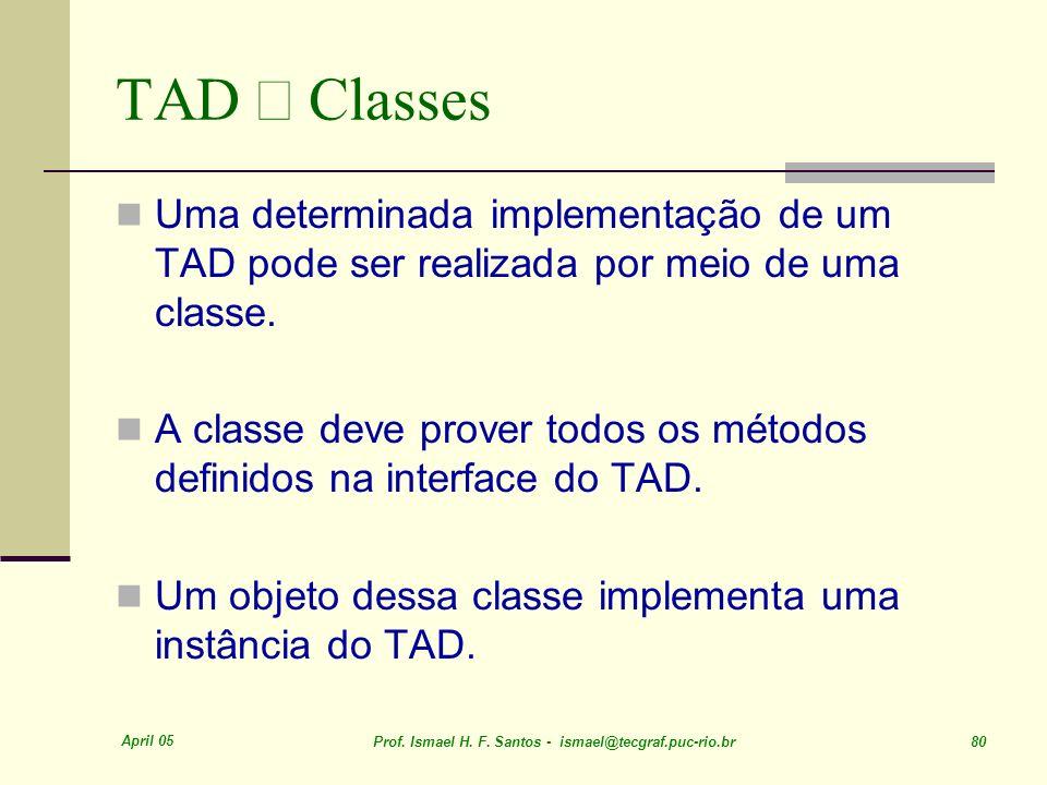 April 05 Prof. Ismael H. F. Santos - ismael@tecgraf.puc-rio.br 80 TAD Classes Uma determinada implementação de um TAD pode ser realizada por meio de u