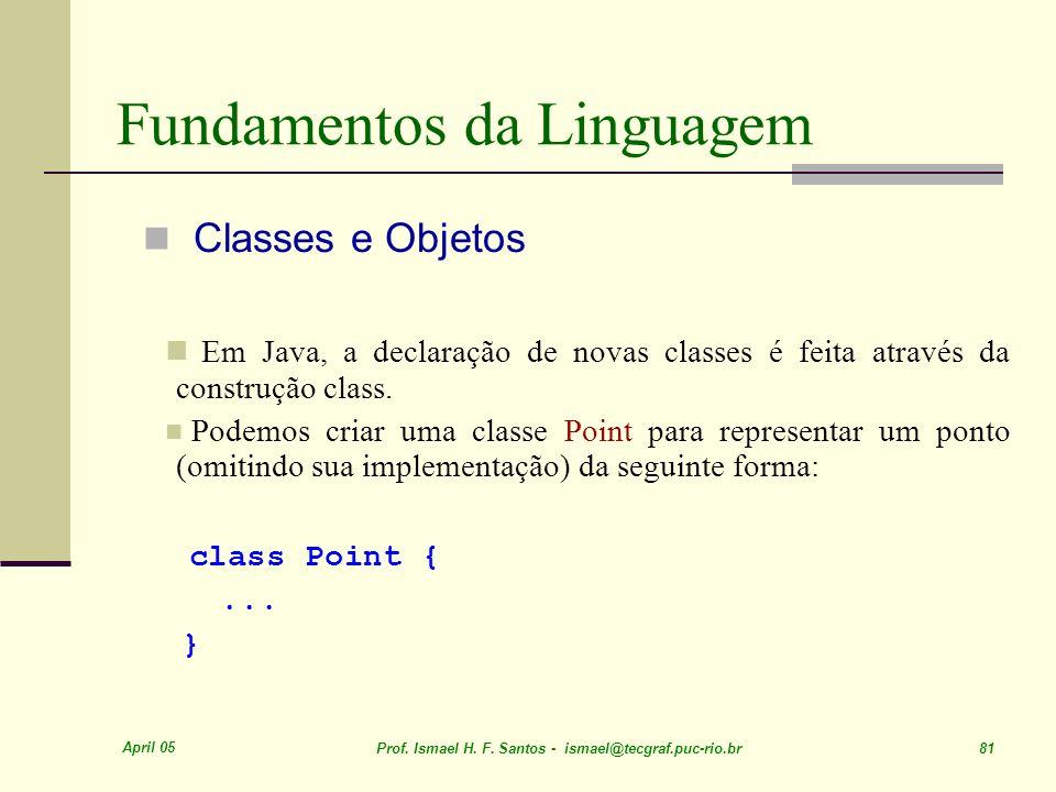 April 05 Prof. Ismael H. F. Santos - ismael@tecgraf.puc-rio.br 81 Fundamentos da Linguagem Classes e Objetos Em Java, a declaração de novas classes é