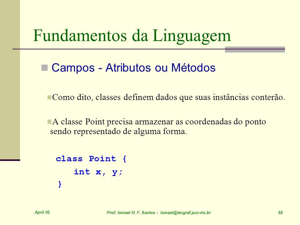 April 05 Prof. Ismael H. F. Santos - ismael@tecgraf.puc-rio.br 82 Fundamentos da Linguagem Campos - Atributos ou Métodos Como dito, classes definem da