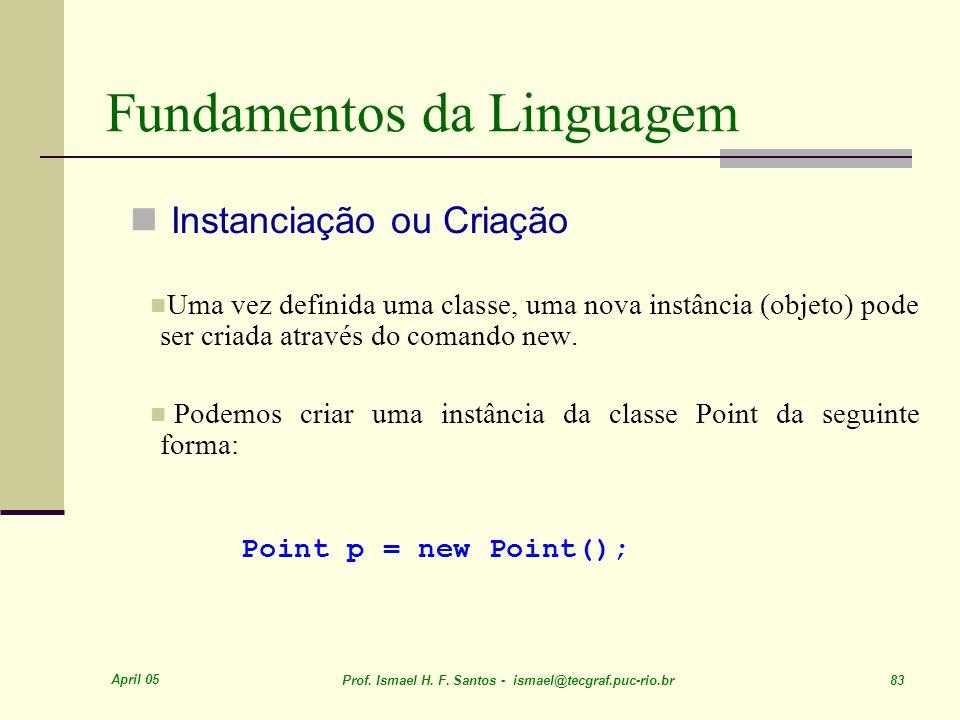 April 05 Prof. Ismael H. F. Santos - ismael@tecgraf.puc-rio.br 83 Fundamentos da Linguagem Instanciação ou Criação Uma vez definida uma classe, uma no