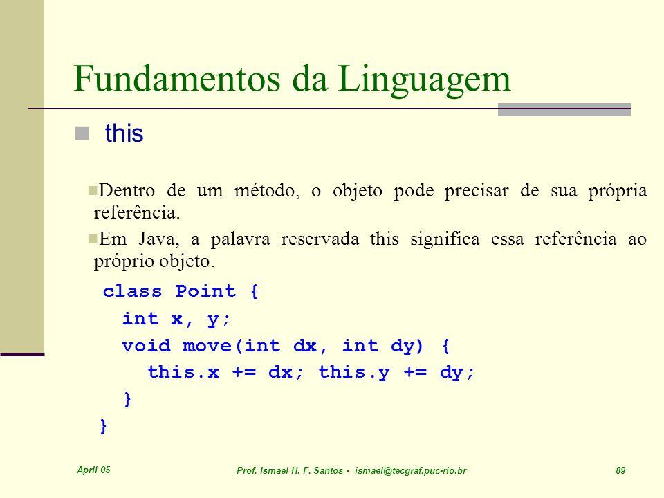 April 05 Prof. Ismael H. F. Santos - ismael@tecgraf.puc-rio.br 89 Fundamentos da Linguagem this Dentro de um método, o objeto pode precisar de sua pró