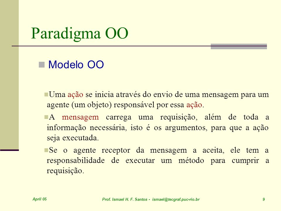 April 05 Prof. Ismael H. F. Santos - ismael@tecgraf.puc-rio.br 9 Paradigma OO Modelo OO Uma ação se inicia através do envio de uma mensagem para um ag