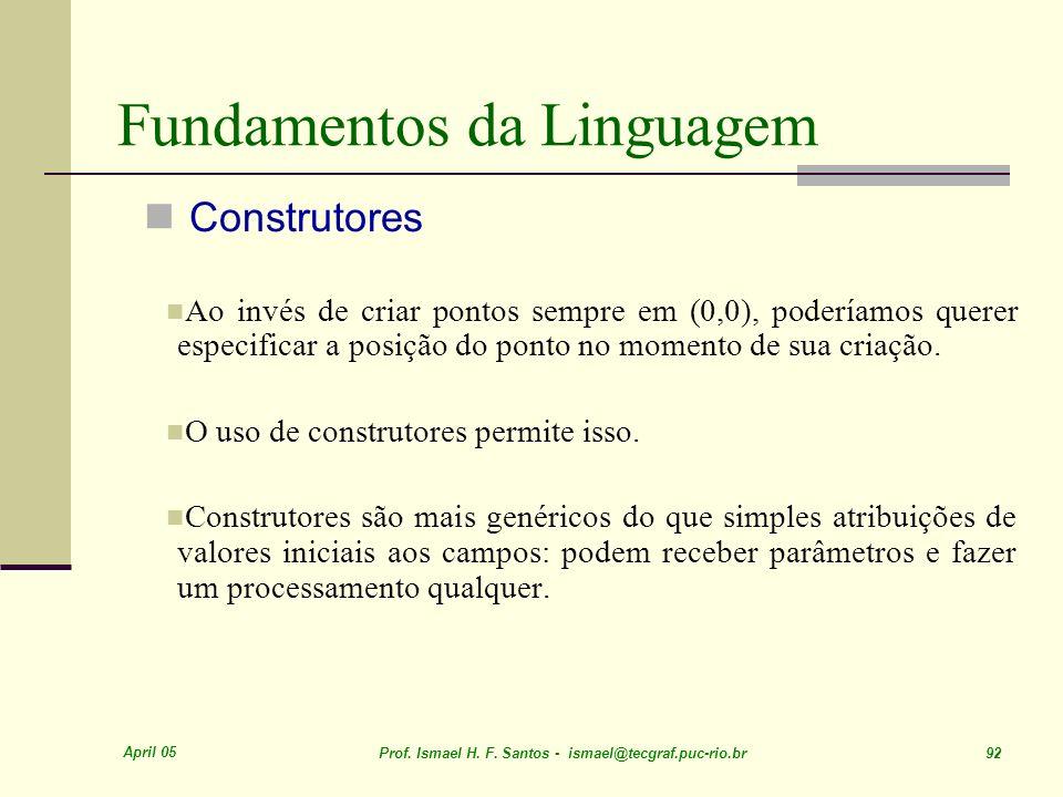 April 05 Prof. Ismael H. F. Santos - ismael@tecgraf.puc-rio.br 92 Fundamentos da Linguagem Construtores Ao invés de criar pontos sempre em (0,0), pode