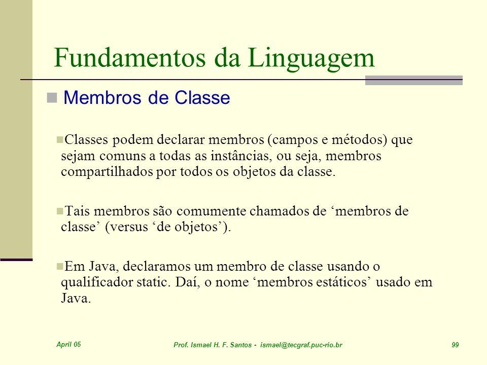 April 05 Prof. Ismael H. F. Santos - ismael@tecgraf.puc-rio.br 99 Fundamentos da Linguagem Membros de Classe Classes podem declarar membros (campos e