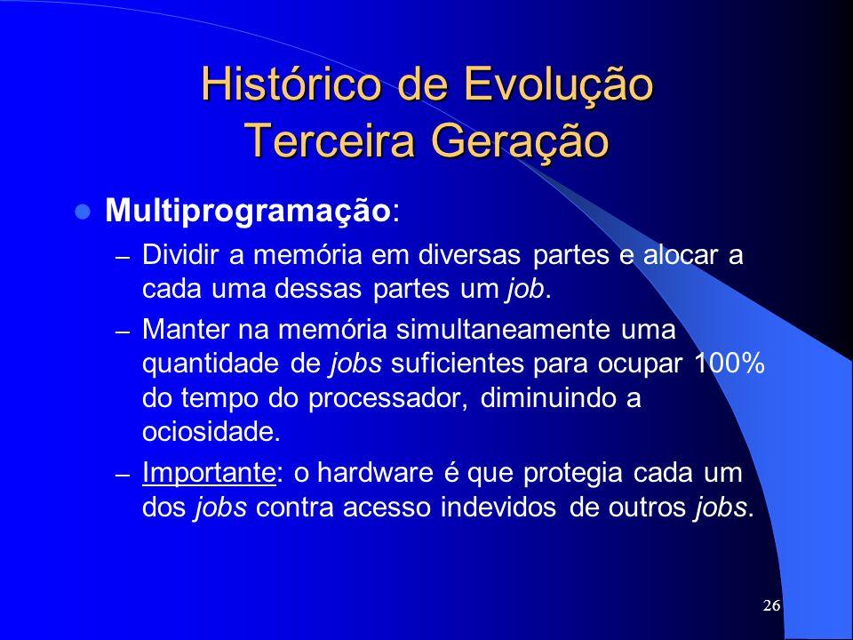 26 Histórico de Evolução Terceira Geração Multiprogramação: – Dividir a memória em diversas partes e alocar a cada uma dessas partes um job.