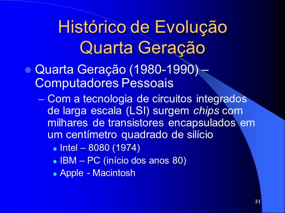 31 Histórico de Evolução Quarta Geração Quarta Geração (1980-1990) – Computadores Pessoais – Com a tecnologia de circuitos integrados de larga escala (LSI) surgem chips com milhares de transistores encapsulados em um centímetro quadrado de silício Intel – 8080 (1974) IBM – PC (início dos anos 80) Apple - Macintosh