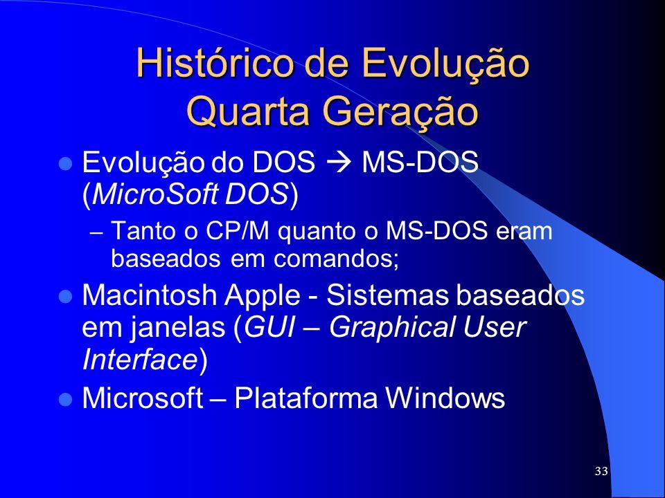 33 Histórico de Evolução Quarta Geração Evolução do DOS MS-DOS (MicroSoft DOS) – Tanto o CP/M quanto o MS-DOS eram baseados em comandos; Macintosh Apple - Sistemas baseados em janelas (GUI – Graphical User Interface) Microsoft – Plataforma Windows