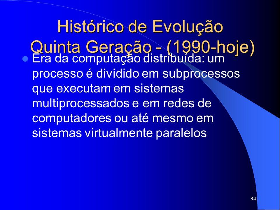 34 Histórico de Evolução Quinta Geração - (1990-hoje) Era da computação distribuída: um processo é dividido em subprocessos que executam em sistemas multiprocessados e em redes de computadores ou até mesmo em sistemas virtualmente paralelos