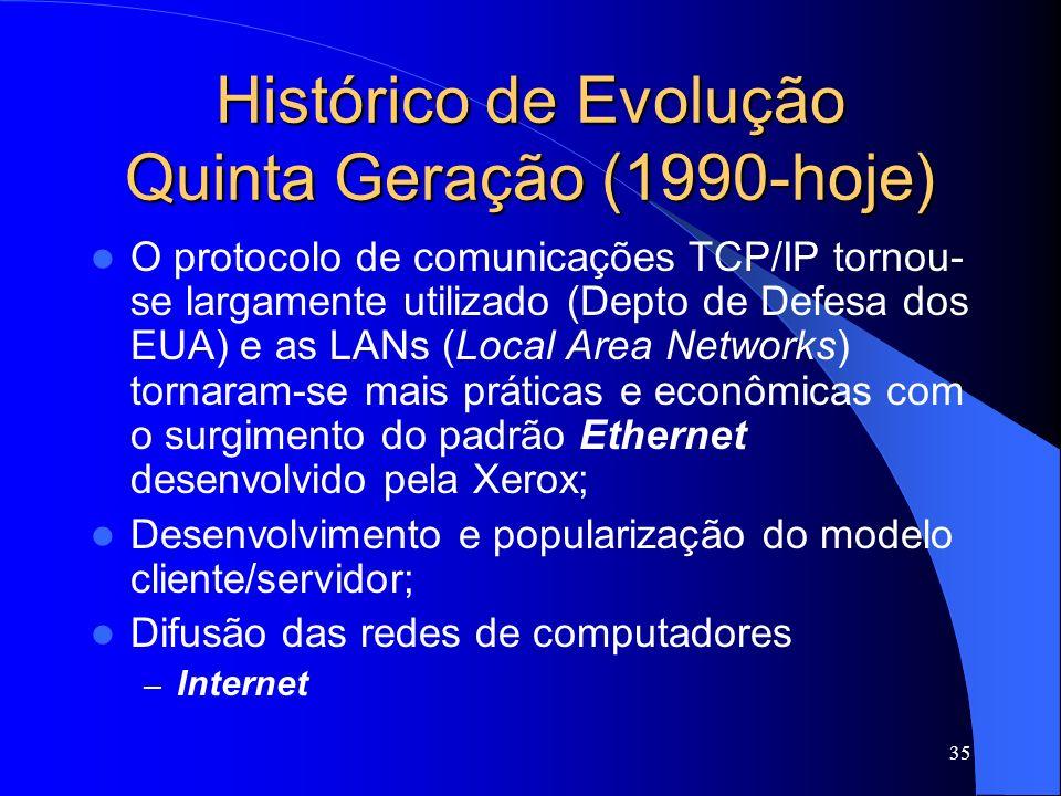 35 Histórico de Evolução Quinta Geração (1990-hoje) O protocolo de comunicações TCP/IP tornou- se largamente utilizado (Depto de Defesa dos EUA) e as LANs (Local Area Networks) tornaram-se mais práticas e econômicas com o surgimento do padrão Ethernet desenvolvido pela Xerox; Desenvolvimento e popularização do modelo cliente/servidor; Difusão das redes de computadores – Internet
