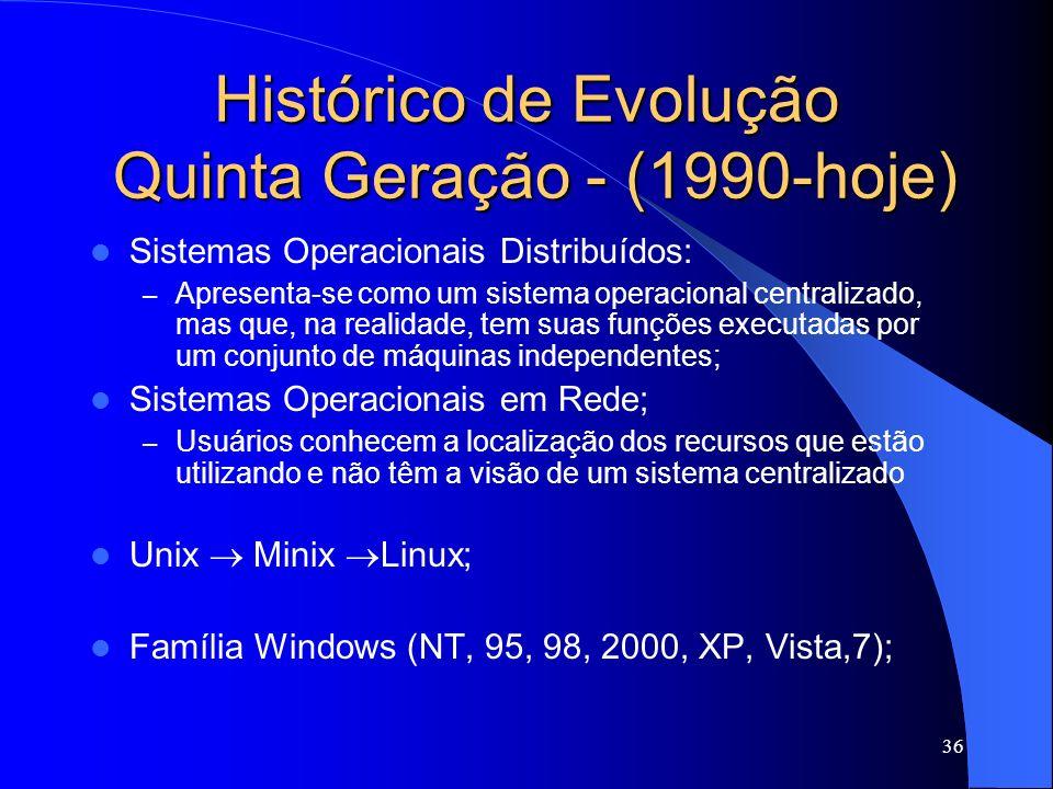 36 Histórico de Evolução Quinta Geração - (1990-hoje) Sistemas Operacionais Distribuídos: – Apresenta-se como um sistema operacional centralizado, mas que, na realidade, tem suas funções executadas por um conjunto de máquinas independentes; Sistemas Operacionais em Rede; – Usuários conhecem a localização dos recursos que estão utilizando e não têm a visão de um sistema centralizado Unix Minix Linux; Família Windows (NT, 95, 98, 2000, XP, Vista,7);