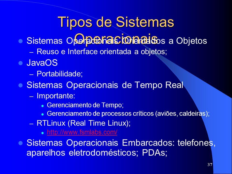 37 Tipos de Sistemas Operacionais Sistemas Operacionais Orientados a Objetos – Reuso e Interface orientada a objetos; JavaOS – Portabilidade; Sistemas Operacionais de Tempo Real – Importante: Gerenciamento de Tempo; Gerenciamento de processos críticos (aviões, caldeiras); – RTLinux (Real Time Linux); http://www.fsmlabs.com/ Sistemas Operacionais Embarcados: telefones, aparelhos eletrodomésticos; PDAs;