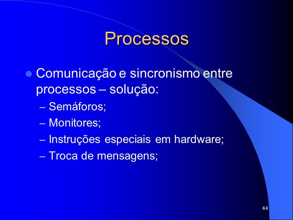 44 Processos Comunicação e sincronismo entre processos – solução: – Semáforos; – Monitores; – Instruções especiais em hardware; – Troca de mensagens;