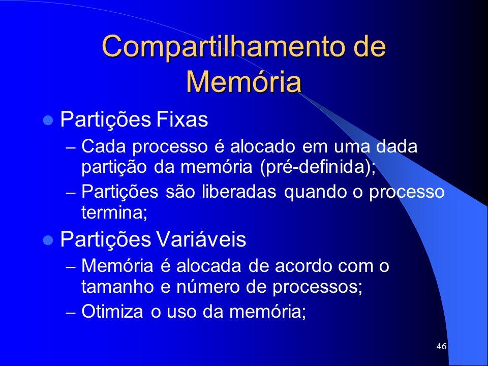 46 Compartilhamento de Memória Partições Fixas – Cada processo é alocado em uma dada partição da memória (pré-definida); – Partições são liberadas quando o processo termina; Partições Variáveis – Memória é alocada de acordo com o tamanho e número de processos; – Otimiza o uso da memória;