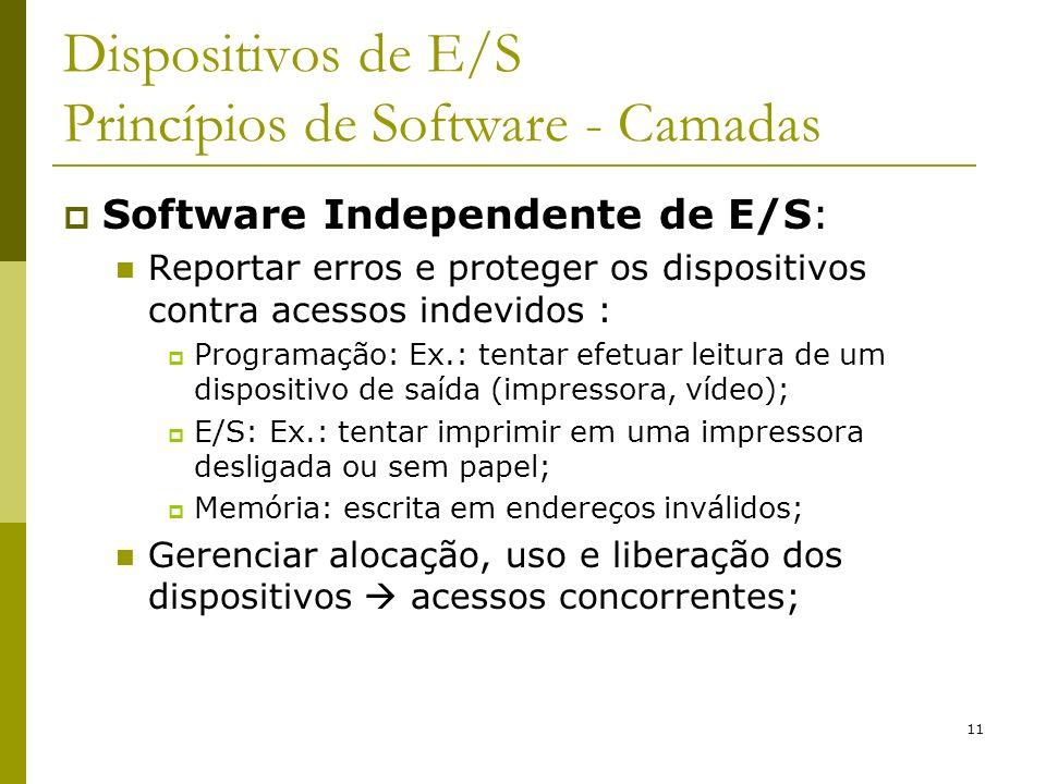 11 Dispositivos de E/S Princípios de Software - Camadas Software Independente de E/S: Reportar erros e proteger os dispositivos contra acessos indevid