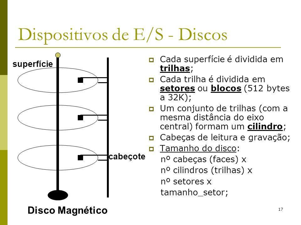 17 Dispositivos de E/S - Discos Cada superfície é dividida em trilhas; Cada trilha é dividida em setores ou blocos (512 bytes a 32K); Um conjunto de t