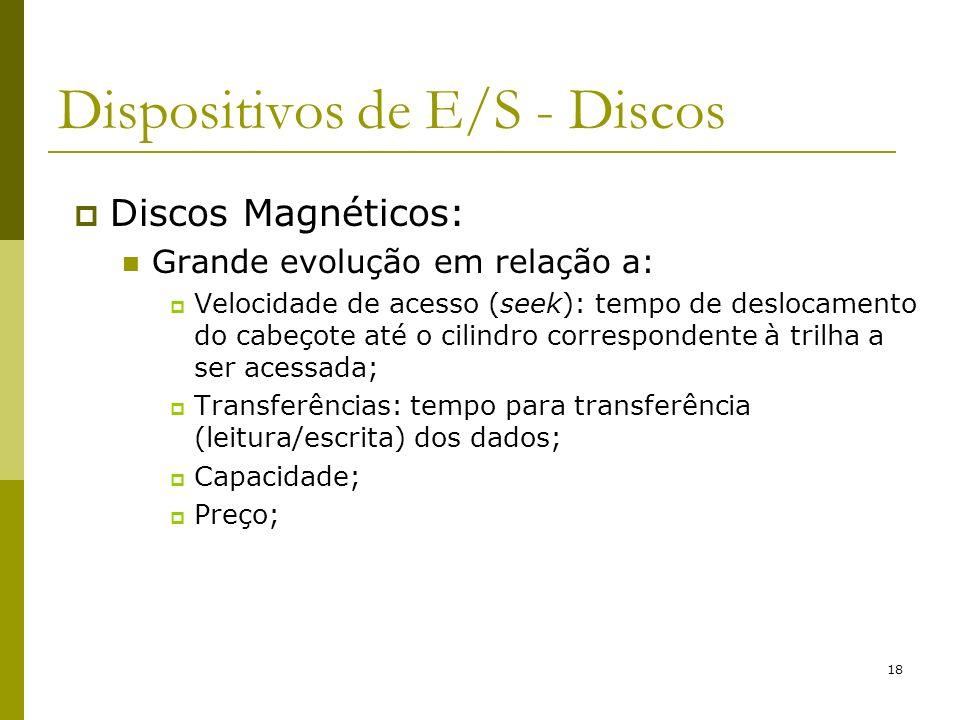 18 Dispositivos de E/S - Discos Discos Magnéticos: Grande evolução em relação a: Velocidade de acesso (seek): tempo de deslocamento do cabeçote até o