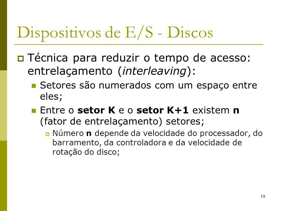 19 Dispositivos de E/S - Discos Técnica para reduzir o tempo de acesso: entrelaçamento (interleaving): Setores são numerados com um espaço entre eles;