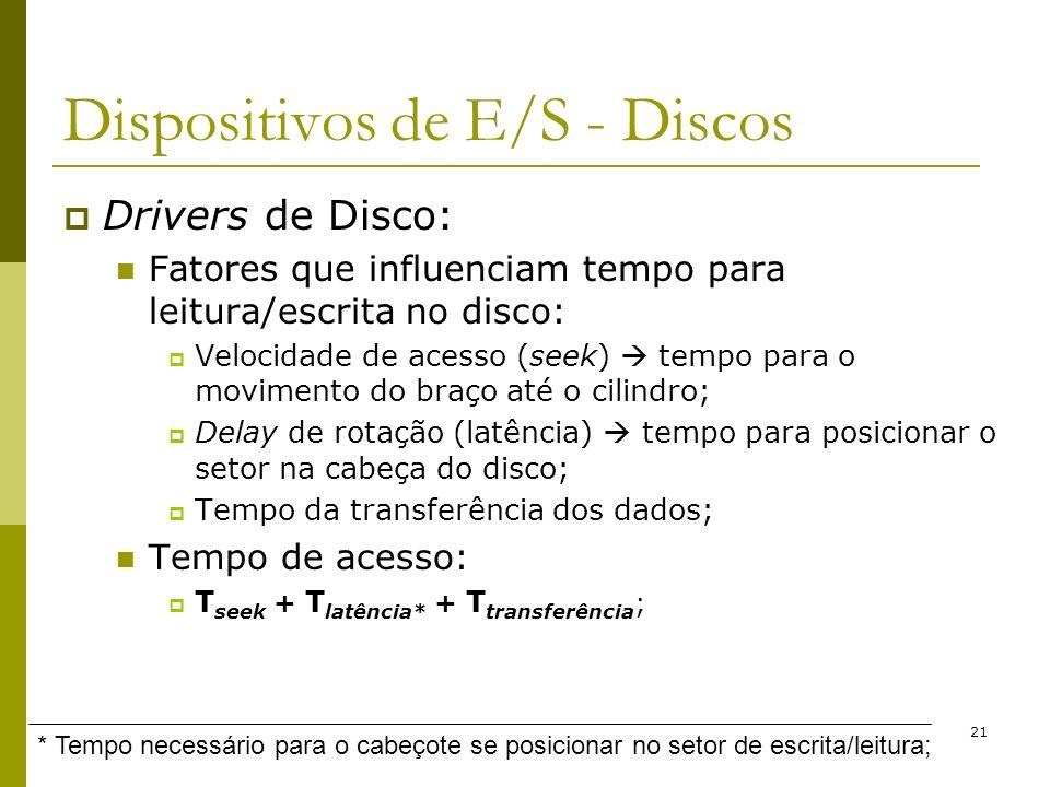 21 Dispositivos de E/S - Discos Drivers de Disco: Fatores que influenciam tempo para leitura/escrita no disco: Velocidade de acesso (seek) tempo para