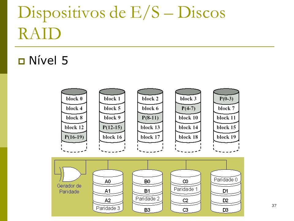 37 Dispositivos de E/S – Discos RAID Nível 5