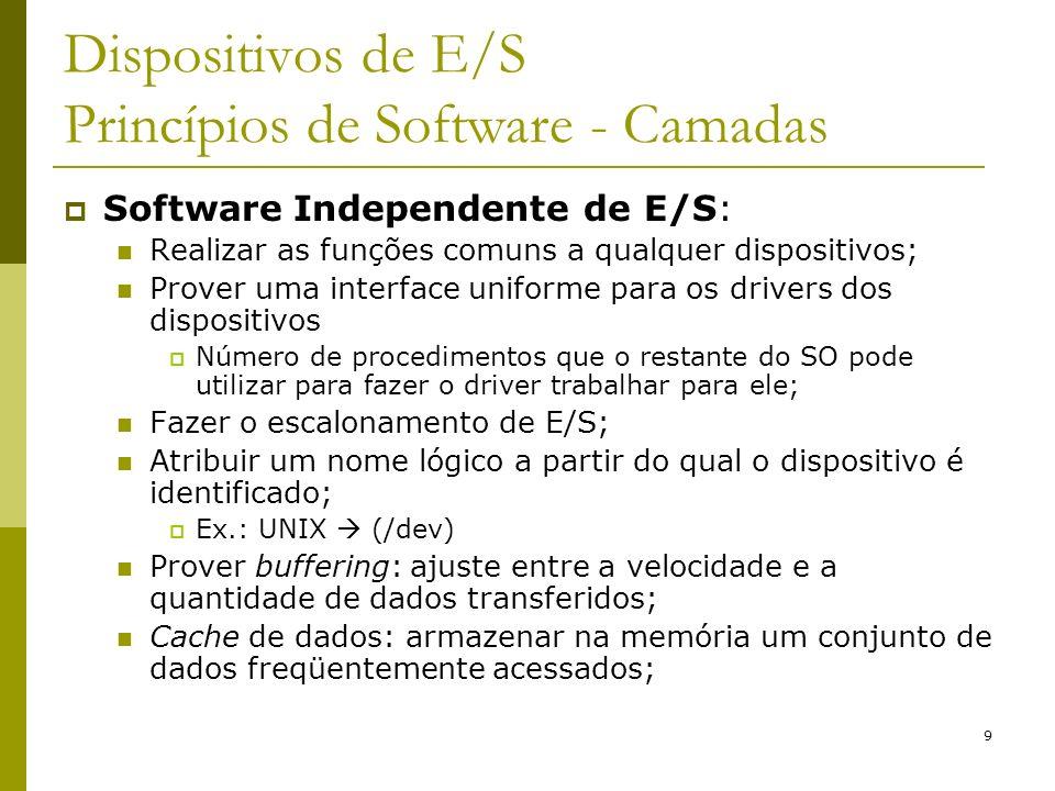 9 Dispositivos de E/S Princípios de Software - Camadas Software Independente de E/S: Realizar as funções comuns a qualquer dispositivos; Prover uma in